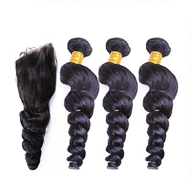 povoljno Ekstenzije od ljudske kose-3 paketi s zatvaranjem Peruanska kosa Valovita kosa Virgin kosa Ljudske kose plete Isprepliće ljudske kose Proširenja ljudske kose / 10A