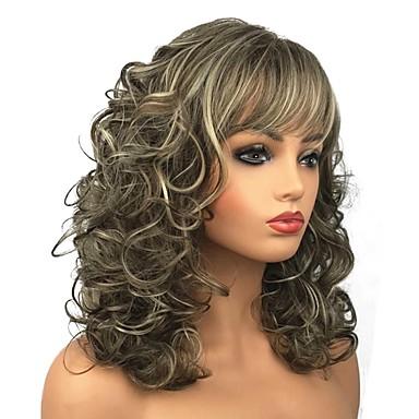 Συνθετικές Περούκες Σγουρά Σγουρά Περούκα Μακρύ Ξανθό Μπεζ Ξανθό Συνθετικά μαλλιά Γυναικεία Καφέ StrongBeauty