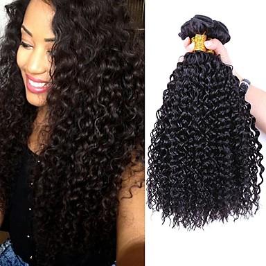 economico Onde di capelli veri-4 pacchi Brasiliano Kinky Curly Cappelli veri Ciocche a onde capelli veri 8-28 pollice Tessiture capelli umani Estensioni dei capelli umani / 8A / Riccio