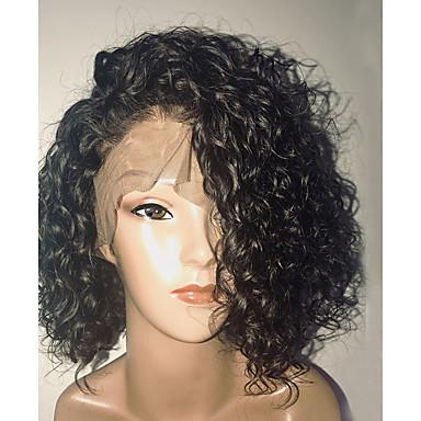 Φυσικά μαλλιά Πλήρης Δαντέλα Χωρίς Κόλλα Πλήρης Δαντέλα Περούκα Κούρεμα καρέ Σύντομο βαρίδι Πλευρικό μέρος στυλ Βραζιλιάνικη Σγουρά Κύμα Νερού Περούκα 130% Πυκνότητα μαλλιών / με τα μαλλιά μωρών