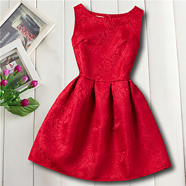 cheap Baby & Kids-Kids Girls' Basic Daily Flower Jacquard Sleeveless Dress Red