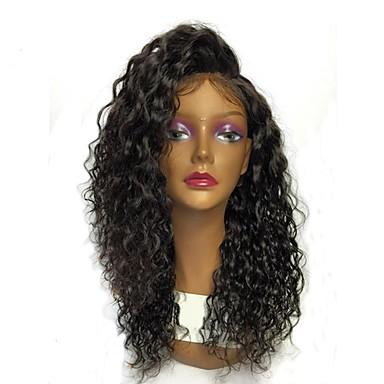 Φυσικά μαλλιά 360 μετωπικής Περούκα Με αλογοουρά στυλ Βραζιλιάνικη 360 πρόσθια Κύμα Νερού Περούκα 180% Πυκνότητα μαλλιών Φυσική γραμμή των μαλλιών Πλευρικό μέρος Κοντό Μεσαίο Μακρύ / Απλά κυματιστά