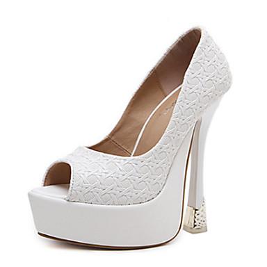 Mujer Zapatos PU Verano Confort Sandalias Tacón Stiletto Punta abierta Blanco / Negro Faire Acheter Pas Cher En Ligne Prix Bon Marché Fiable Ub7Iy