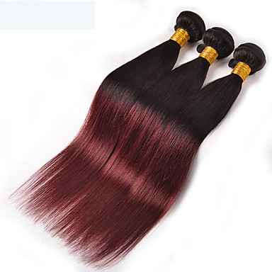 povoljno Ekstenzije od ljudske kose-3 paketa Brazilska kosa Ravan kroj Virgin kosa Ljudska kosa Ombre 8-26 inch Ombre Isprepliće ljudske kose Odor Free Prirodno Najbolja kvaliteta Proširenja ljudske kose / 10A