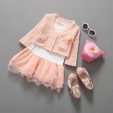 Νήπιο Κοριτσίστικα Καθημερινά Μονόχρωμο Μακρυμάνικο Σετ Ρούχων Ανθισμένο Ροζ / Χαριτωμένο