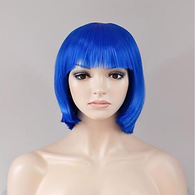 Perucas sintéticas Liso Reto Peruca Curto Azul Cabelo Sintético Mulheres Azul