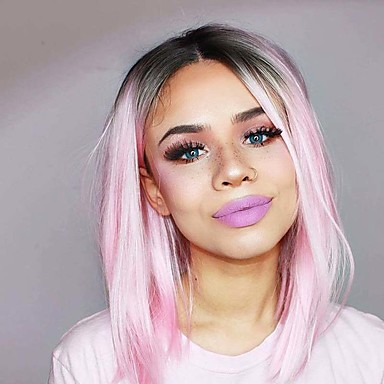 Synthetic Lace Front Wig Women S Straight Pink Bob