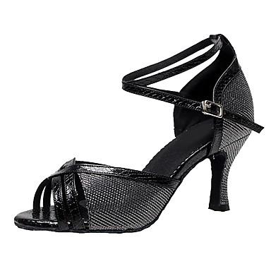 Παπούτσια χορού λάτιν Συνθετικό Πόρπη Πέδιλα Προσαρμοσμένο τακούνι Εξατομικευμένο Παπούτσια Χορού Μαύρο / Βυσσινί / Χρυσό