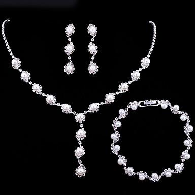 Γυναικεία Σετ Κοσμημάτων Λουλούδι κυρίες Ευρωπαϊκό Μοντέρνα Κομψό Απομίμηση Μαργαριταριού Σκουλαρίκια Κοσμήματα Ασημί Για Γάμου Πάρτι