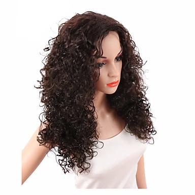 Συνθετικές Περούκες Σγουρά Kinky Curly Kinky Σγουρό Σγουρά Περούκα Σκούρο Καφέ Συνθετικά μαλλιά Γυναικεία Στη μέση Περούκα αφροαμερικανικό στυλ Καφέ