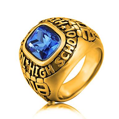 preiswerte Statement Ringe-Herrn Statement-Ring Siegelring Sapphire Kubikzirkonia Gold Silber Edelstahl Zirkonia Modisch Militär Hochzeit Party Schmuck High School Ringe Klasse