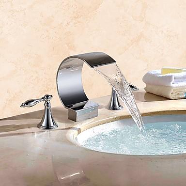 Μπάνιο βρύση νεροχύτη - Καταρράκτης Χρώμιο Αναμεικτικές με ξεχωριστές βαλβίδες Δύο λαβές τρεις οπές / Ορείχαλκος