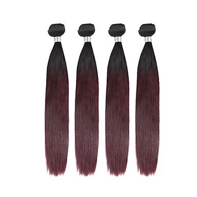 povoljno Ekstenzije od ljudske kose-4 paketića Brazilska kosa Ravan kroj Ljudska kosa Ombre 10-20 inch Isprepliće ljudske kose Gradijent boje Najbolja kvaliteta Novi Dolazak Proširenja ljudske kose / 8A