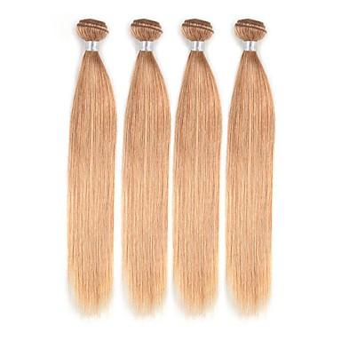 povoljno Ekstenzije od ljudske kose-4 paketića Brazilska kosa Ravan kroj Ljudska kosa Ombre 12-26 inch Plavuša Isprepliće ljudske kose Novi Dolazak Gust Čovjek tkati Proširenja ljudske kose / 8A
