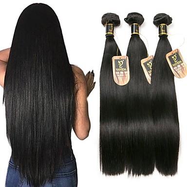 3 δεσμίδες Βραζιλιάνικη Ίσιο Φυσικά μαλλιά Υφάνσεις ανθρώπινα μαλλιών 8-28 inch Υφάνσεις ανθρώπινα μαλλιών Μοντέρνα Επεκτάσεις ανθρώπινα μαλλιών / 8A / Ίσια