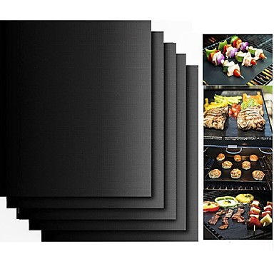 cheap Kitchen & Dining-2pcs Thick ptfe Barbecue Grill Mat non-stick Reusable BBQ Grill Mats Sheet Grill Foil BBQ Liner
