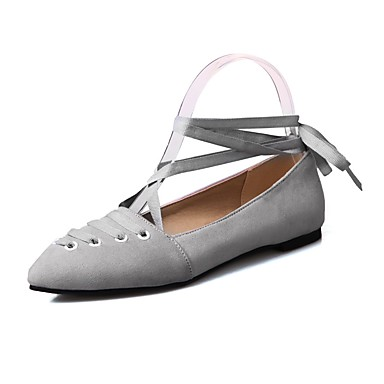 fb5ccdad5f0 Women s Shoes Nubuck leather Spring   Fall Comfort   Ankle Strap Flats Flat  Heel Pointed Toe Ribbon Tie Gray   Red   Pink 6555179 2019 –  26.99