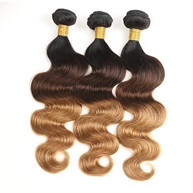 povoljno Ekstenzije od ljudske kose-3 paketa Brazilska kosa Tijelo Wave Ljudska kosa Ombre 10-26 inch Isprepliće ljudske kose Gradijent boje Prirodno Najbolja kvaliteta Proširenja ljudske kose / 8A