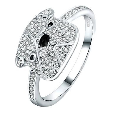 billige Motering-Dame Band Ring Evigheten Ring Micro Pave Ring Kubisk Zirkonium 1pc Sølv Zirkonium Sølv Geometrisk Form Tegneserie Gave Daglig Smykker Dyr