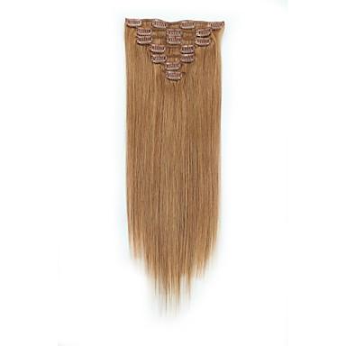 voordelige Extensions van echt haar-Clip-in Extensions van echt haar 7pcs / Pack 70g / pak Medium bruin / Strawberry Blonde Medium Brown / Bleach Blonde Golden Brown /