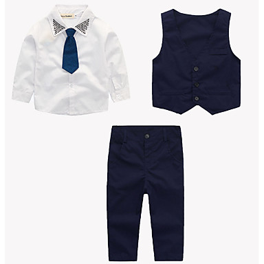 cheap Baby & Kids-Toddler Infant Boys' Simple Casual Active Party Daily School Print Solid Colored Vintage Style Classic Style Retro Long Sleeve Regular Regular Clothing Set Navy Blue / Going out
