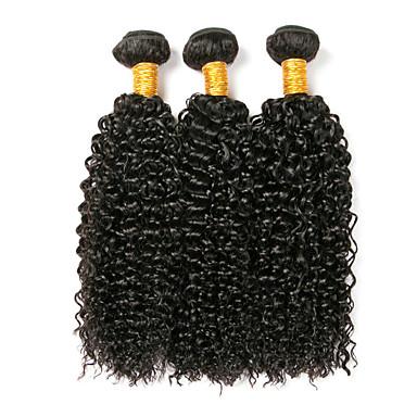 povoljno Ekstenzije od ljudske kose-3 paketa Brazilska kosa Kinky Curly Remy kosa Ljudske kose plete 8-28 inch Isprepliće ljudske kose Proširenja ljudske kose / 10A