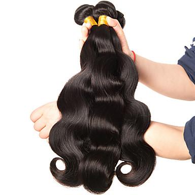 economico Extension per capelli-3 pacchetti Brasiliano Ondulato naturale Capello vergine Ciocche a onde capelli veri 8-28 pollice Tessiture capelli umani Estensioni dei capelli umani / 10A