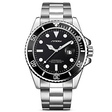 levne Pánské-SINOBI Pánské Náramkové hodinky japonština Křemenný Kov Nerez Stříbro 30 m Kalendář Odolný vůči nárazu Cool Analogové Luxus Vintage Módní Cool - Zelená stříbrná / černá Stříbrná / Modrá Dva roky
