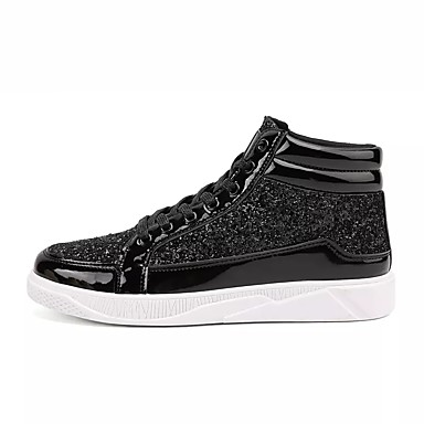 cheap Men's Sneakers-Men's Comfort Shoes PU Spring / Fall Loafers & Slip-Ons Walking Shoes Black / Gold / Silver / Rhinestone / EU40