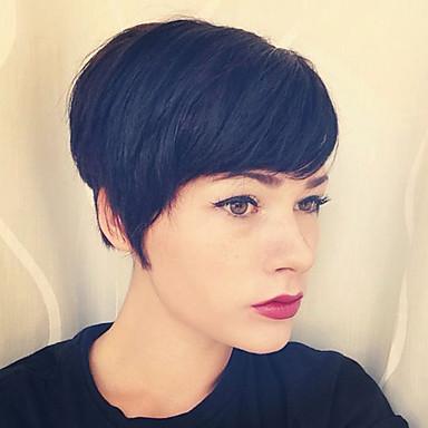 Ανθρώπινη Τρίχα Περούκα Ίσιο Κούρεμα νεράιδας Σύντομα Hairstyles 2019 Ίσια Πλευρικό μέρος Μηχανοποίητο Μαύρο Μεσαία Auburn Μεσαία Auburn / Bleach Blonde 8 Ίντσες