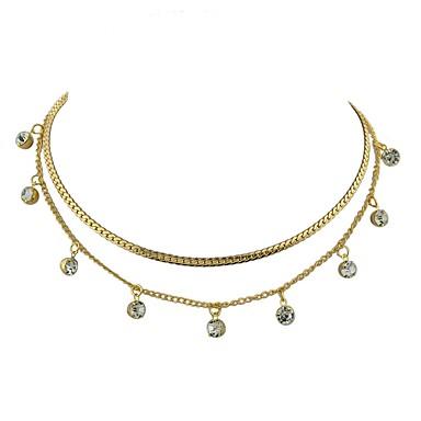 Γυναικεία πολυεπίπεδη Κολιέ κυρίες Απλός Βασικό Κράμα Χρυσό Ασημί Κολιέ Κοσμήματα 2 Για Καθημερινά Πρωτοχρονιά