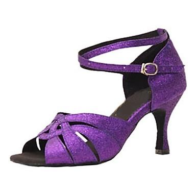 Γυναικεία Παπούτσια Χορού Λαμπυρίζον Γκλίτερ Παπούτσια χορού λάτιν Πέδιλα / Τακούνια Προσαρμοσμένο τακούνι Εξατομικευμένο Βυσσινί / Επαγγελματική / EU38