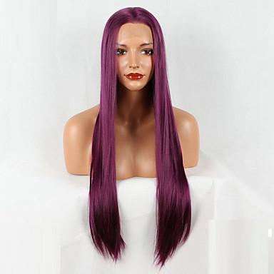 Συνθετικές μπροστινές περούκες δαντέλας Ίσιο Ίσια Δαντέλα Μπροστά Περούκα 20-40 ίντσες Μωβ Συνθετικά μαλλιά Περούκα αφροαμερικανικό στυλ Μωβ