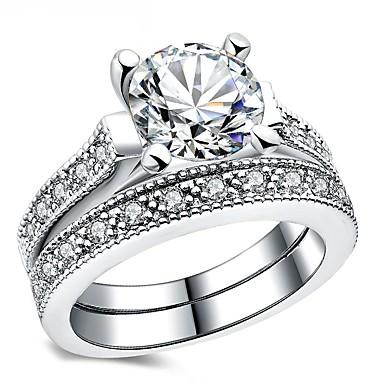 Γυναικεία Band Ring Cubic Zirconia 2pcs Ασημί Circle Shape Βίντατζ Κομψό Γάμου Αρραβώνας Κοσμήματα Σύμπλεγμα