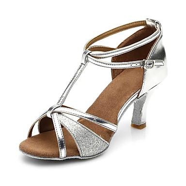 Γυναικεία Παπούτσια Χορού Φο Δέρμα Παπούτσια χορού λάτιν Αγκράφα / Παγιέτες Πέδιλα / Τακούνια Κοντόχοντρο Τακούνι Εξατομικευμένο Ασημί / EU40