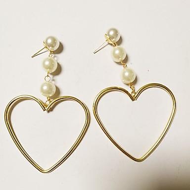 Γυναικεία Κρεμαστά Σκουλαρίκια Καρδιά κυρίες Ευρωπαϊκό Μοντέρνα Σκουλαρίκια Κοσμήματα Χρυσό / Λευκό Για Πάρτι