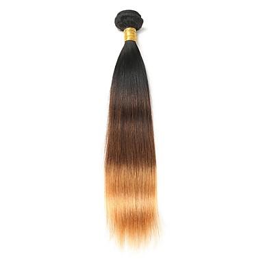 povoljno Ekstenzije od ljudske kose-1 paket Brazilska kosa Ravan kroj Ljudska kosa Ombre 10-26 inch Ombre Isprepliće ljudske kose Proširenja ljudske kose / 8A