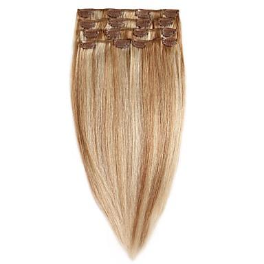preiswerte Anklippbare Haarverlängerungen-Mit Clip Haarverlängerungen 7pcs / Packung 70g / pack Mittelbraun / Strawberry Blonde Mittelbraun / Bleach Blond Goldene Brown / Bleach