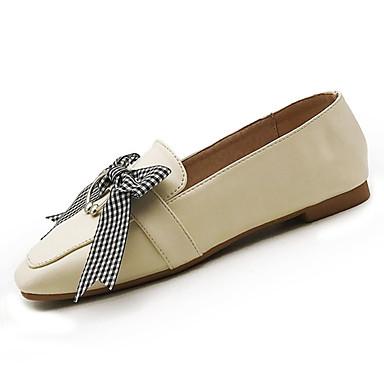 half off 44599 9e547 Mujer Zapatos PU Primavera verano Confort Zapatos de taco bajo y SlipOn  Tacón Plano Blanco   Negro   Almendra Qualité Supérieure Pas Cher En Ligne  Vente ...