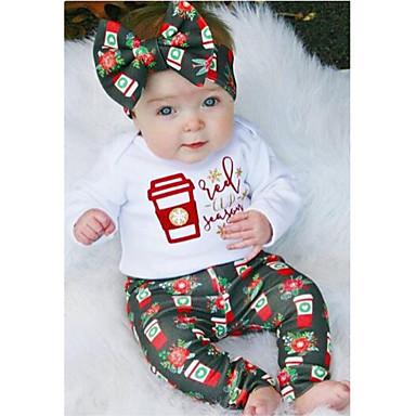 Νήπιο Κοριτσίστικα Καθημερινό Χριστούγεννα Καθημερινά Αθλητικά Στάμπα Χριστούγεννα Φιόγκος Μονόγραμμα Στάμπα Μακρυμάνικο Κανονικό Κανονικό Βαμβάκι Σετ Ρούχων Λευκό / Χαριτωμένο