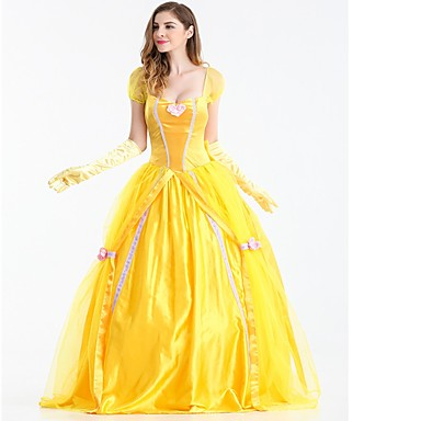 Princesa Chess Belle Fantasias de Cosplay Baile de Máscara Mulheres Dia Das Bruxas Festival / Celebração Cetim / Tule Amarelo Trajes de Carnaval Sólido