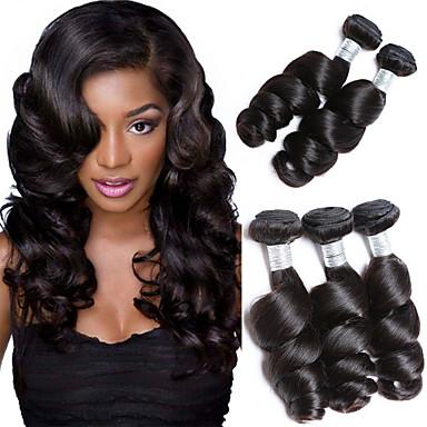 3 δεσμίδες Βραζιλιάνικη Χαλαρό Κυματιστό Φυσικά μαλλιά Υφάνσεις ανθρώπινα μαλλιών 8-28 inch Υφάνσεις ανθρώπινα μαλλιών Επεκτάσεις ανθρώπινα μαλλιών / 8A
