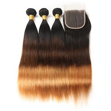 povoljno Ekstenzije od ljudske kose-3 paketi s zatvaranjem Brazilska kosa Ravan kroj Ljudska kosa Ombre 12-26 inch Isprepliće ljudske kose Najbolja kvaliteta Novi Dolazak Proširenja ljudske kose / 8A