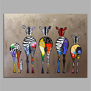 cheap Oil Paintings-Oil Painting Handmade Hand Painted Wall Art Home Decoration Décor Living Room Bedroom Animal Colorful Zebra Rolled Canvas Rolled Without Frame