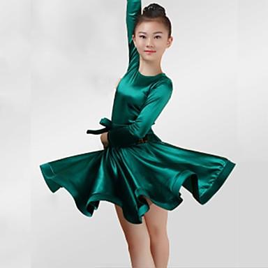 Λάτιν Χοροί Φορέματα Κοριτσίστικα Επίδοση Spandex Ζωνάρια / Κορδέλες Πλισέ Μακρυμάνικο Φόρεμα