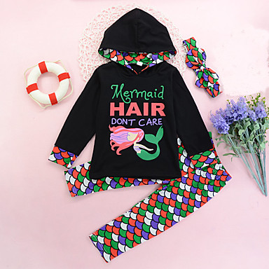 cheap Baby & Kids-Toddler Girls' Active Daily Geometric Print Color Block Fairytale Theme Long Sleeve Regular Regular Clothing Set Black / Cute