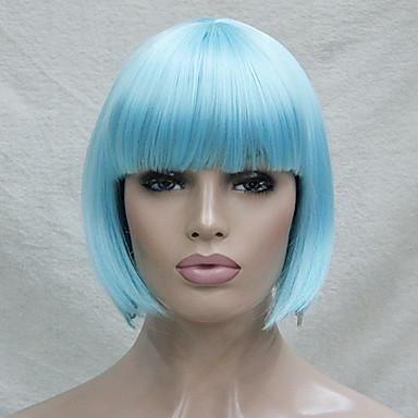 billige Kostymeparykk-Syntetiske parykker Kostymeparykker Rett Stil Bobfrisyre Med lugg Parykk Kort Blå Syntetisk hår Dame Blå Parykk