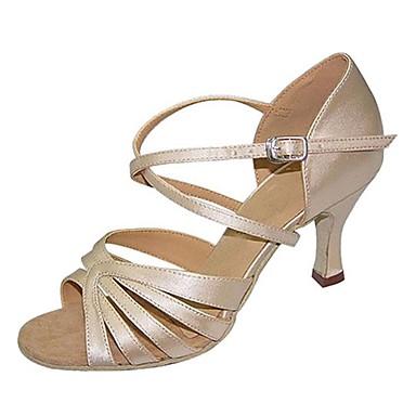 Γυναικεία Παπούτσια Χορού Σατέν Παπούτσια χορού λάτιν Πέδιλα / Τακούνια Προσαρμοσμένο τακούνι Εξατομικευμένο Κάμελ / Επαγγελματική