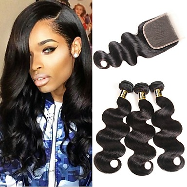 cheap 3 Bundles with Closure-3 Bundles with Closure Hair Weaves Brazilian Hair Body Wave Human Hair Extensions Remy Human Hair 100% Remy Hair Weave Bundles 345 g Natural Color Hair Weaves / Hair Bulk Human Hair Extensions 8-28