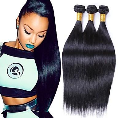 povoljno Ekstenzije od ljudske kose-3 paketa Brazilska kosa Ravan kroj Remy kosa Ljudske kose plete 8-28 inch Priroda Crna Isprepliće ljudske kose Proširenja ljudske kose / 10A